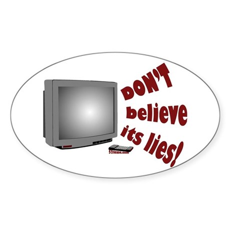 Television Lies anti-TV Oval Sticker