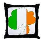 Irish Flag Shamrock Throw Pillow