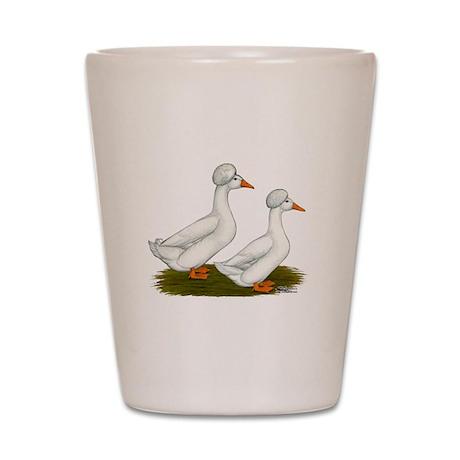 White Crested Ducks Shot Glass