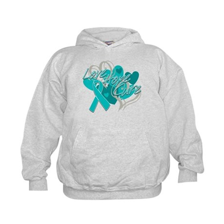 Ovarian Cancer Love Hope Cure Kids Hoodie