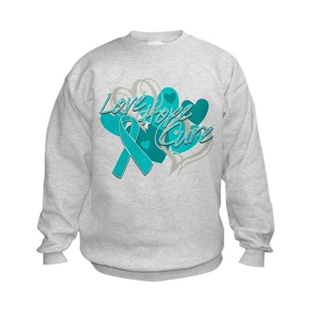 Ovarian Cancer Love Hope Cure Kids Sweatshirt