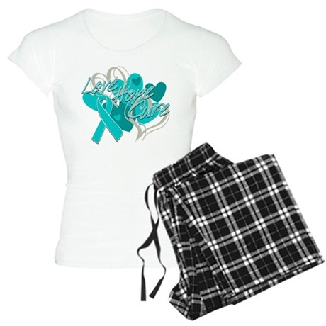 Ovarian Cancer Love Hope Cure Women's Light Pajama