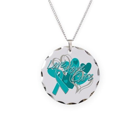 Ovarian Cancer Love Hope Cure Necklace Circle Char