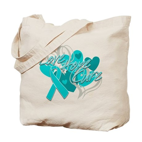 Ovarian Cancer Love Hope Cure Tote Bag