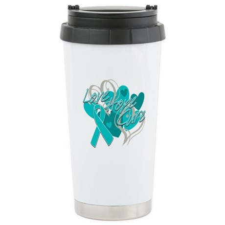 Ovarian Cancer Love Hope Cure Ceramic Travel Mug