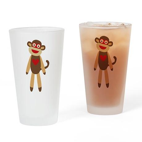 Cute Sock Monkey Drinking Glass