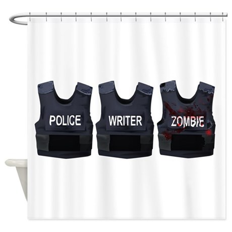 Police writer zombie shower curtain by serendipity uk for Zombie bathroom decor