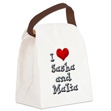 I Love Sasha and Malia Canvas Lunch Bag