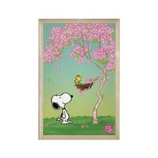 Woodstock in the Cherry Blossoms Rectangle Magnet