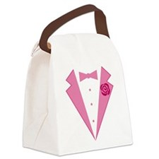 Funny Pink Tuxedo Canvas Lunch Bag