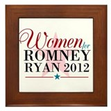 Women for Romney Ryan 2012, Pink/Blue Framed Tile
