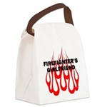 Firefighters Girlfriend Flames Canvas Lunch Bag