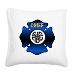Fire Chief Gold Maltese Cross Square Canvas Pillow