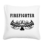 Firefighter Eagle Tattoo Square Canvas Pillow