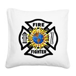 Firefighter Solar Square Canvas Pillow
