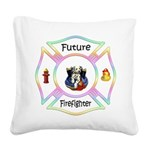 Future Firefighter Pastel Square Canvas Pillow
