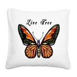 Butterfly Live Free Square Canvas Pillow