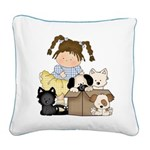 Puppy Dog Friends Square Canvas Pillow