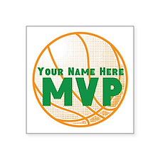 "Personalized Basketball MVP. Square Sticker 3"" x 3"