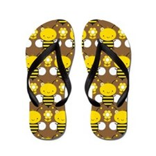 Cute Honey Bee and Flowers Flip Flops