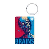 Obama Zombie Brains Aluminum Photo Keychain