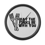 Forks Be With You Large Wall Clock