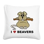 I Love Beavers Square Canvas Pillow