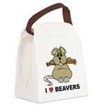 I Love Beavers Canvas Lunch Bag