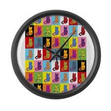 Pop Art Cat Large Wall Clock
