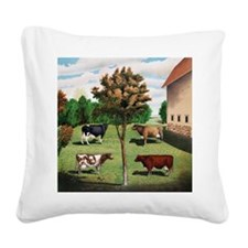 Vintage Cow Art Square Canvas Pillow