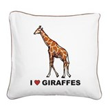 I Love Giraffes Square Canvas Pillow