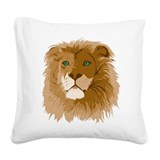 Realistic Lion Square Canvas Pillow
