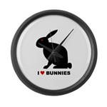 I Love Bunnies Large Wall Clock