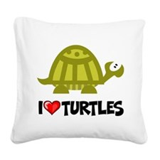 I Love Turtles Square Canvas Pillow
