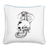 Skull & Cobra Tattoo Square Canvas Pillow