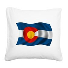 Wavy Colorado Flag Square Canvas Pillow