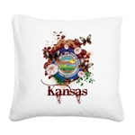 Butterfly Kansas Square Canvas Pillow