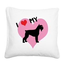i heart my schnauzer.png Square Canvas Pillow