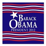 Barack Obama Star and Stripes Square Car Magnet 3