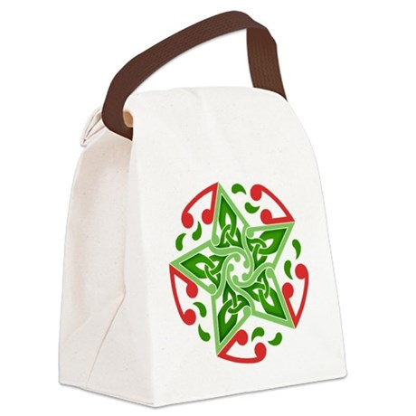 Celtic Christmas Star Canvas Lunch Bag