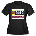 BYE BYE BARACK Women's Plus Size V-Neck Dark T-Shi
