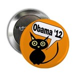 Halloween Cat for Obama '12 Button