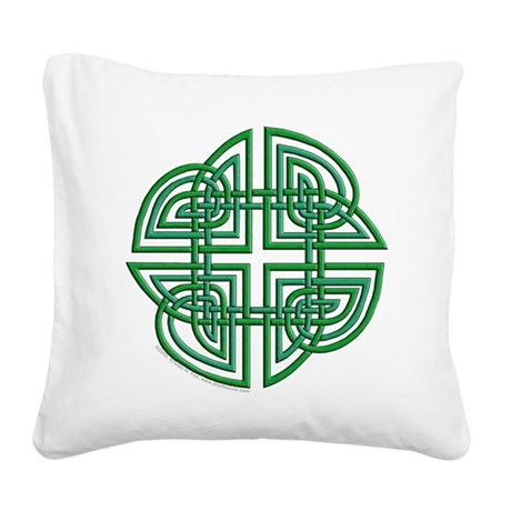 Celtic Four Leaf Clover Square Canvas Pillow