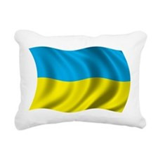 Wavy Ukraine Flag Rectangular Canvas Pillow