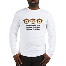Three Monkeys Design Long Sleeve T-Shirt