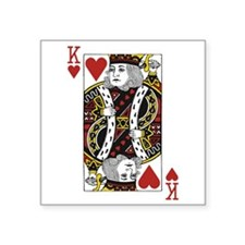 "King of Hearts Square Sticker 3"" x 3"""