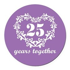 25 Years Together Round Car Magnet