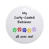 Curly-Coated Retriever Walks Ornament (Round)