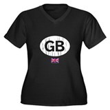 GB Sticker Women's Plus Size V-Neck Dark T-Shirt