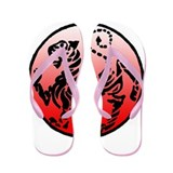 shotokan - black tiger on red and white Flip Flops
